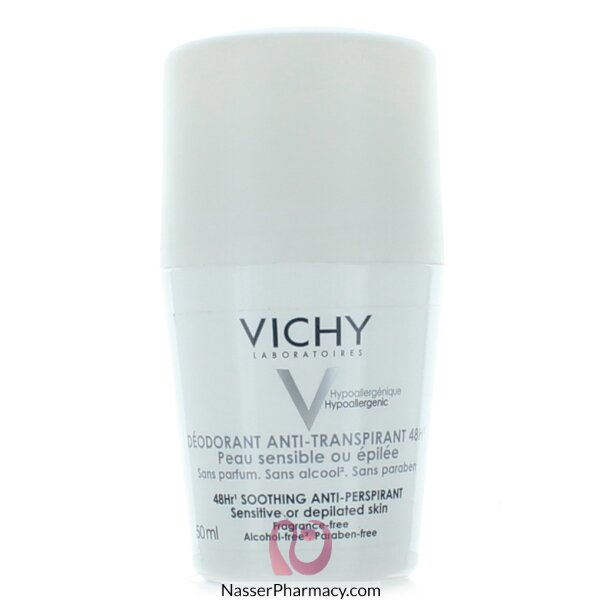 Vichy 48-hour Soothing Anti-perspirant Roll-on - Sensitive Skin Deodorant Sensitive Or Depilated Skin - 50ml