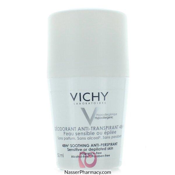 Vichy 48-hour Soothing Anti-perspirant Roll-on - Sensitive Skin Deodorant Sensitive Or Depilated Skin - 50ml