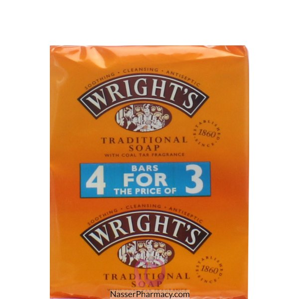 Wrights Soap Twin [4for3 Pack] 4x125g-35214