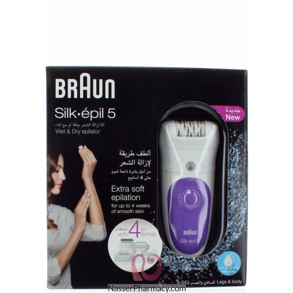 براون آلة إزالة الشعر Silk-épil 5 5-541 اللاسلكية من براون للاستخدام الجاف أو مع الماء ذات 4 ملحقات تشمل رأس ماكينة الحلاقة وغطاء أداة تهذيب الشعر