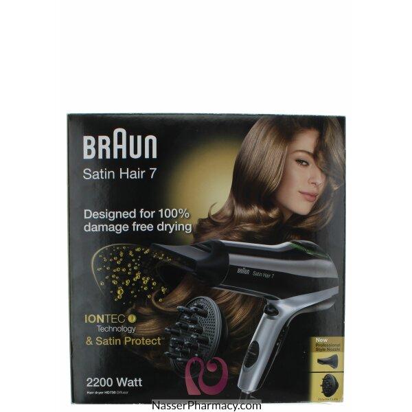 براون مجفف شعر Satin Hair 7 Hd730 ذو تقنية الأيونتك المزود بكل من Satin Protect والرذّاذة