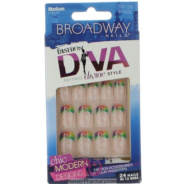 برودواي  Broadway  أظافر صناعية متوسطة الطول - أشكال متعددة