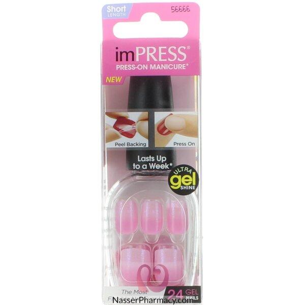 Impress Press On Manicure Last To A Week - Pink Gel Shine