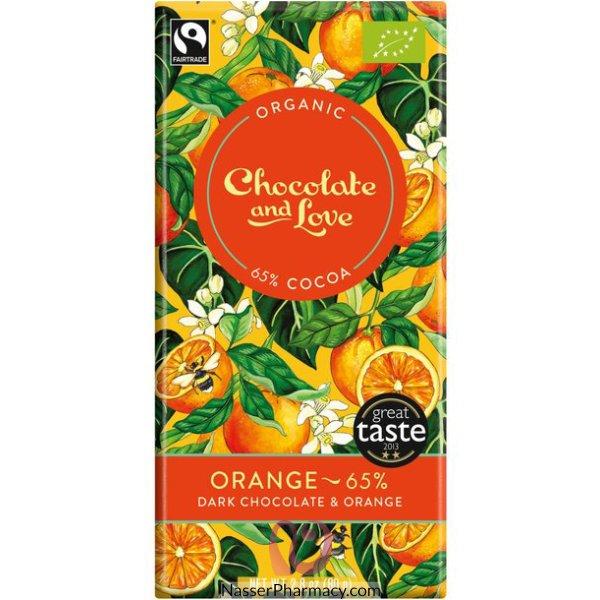 تشوكولات لوف أورجانيك Chocolate Love Organic شوكولاته داكنة بنكهة البرتقال 65%