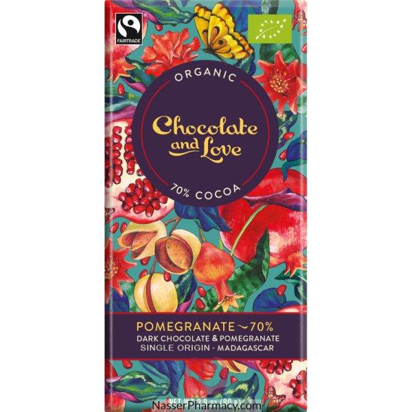 Chocolate Love Organic  Dark Choc Pomgranate 70% 80g