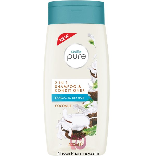 Cussons Pure 2in1 Shamp&cond Coconut 500ml -65909