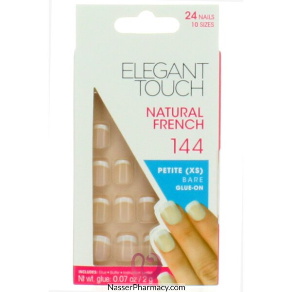 ايليجانت تاتش Elegant Touch  أظافر لاصقة  French Nails - 144 (xs)