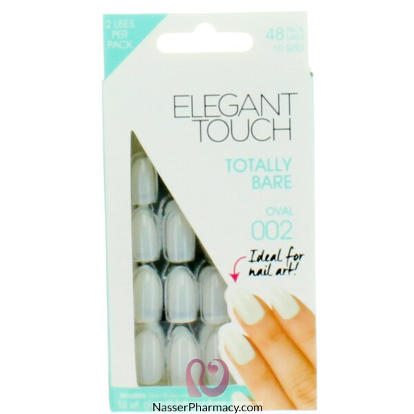 ايليجانت تاتش Elegant Touch  أظافر لاصقة   Totally Bare, Oval  (48 قطعة)