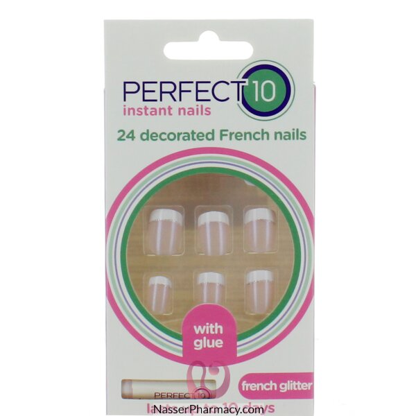 Elegant Touch P10 Decorated French Nails French Glitter