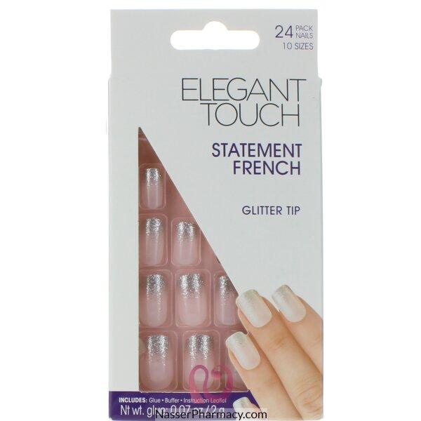 Elegant Touch Statement French Nails-glitter