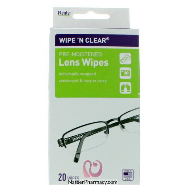 فلنتس (wipe &#39n Clear) مناديل لتنظيف عدسات النظارات - 20 قطعة
