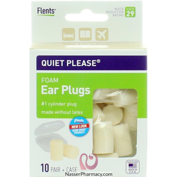 Flents Quiet! Please Foam Ear Plugs + Case - 10 Pairs
