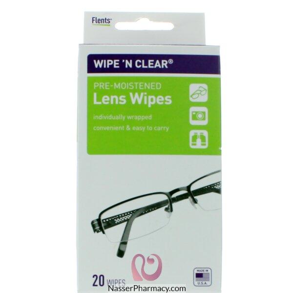 Flents Wipe 'n Clear Pre-moistened Lens Wipes-20 Piece