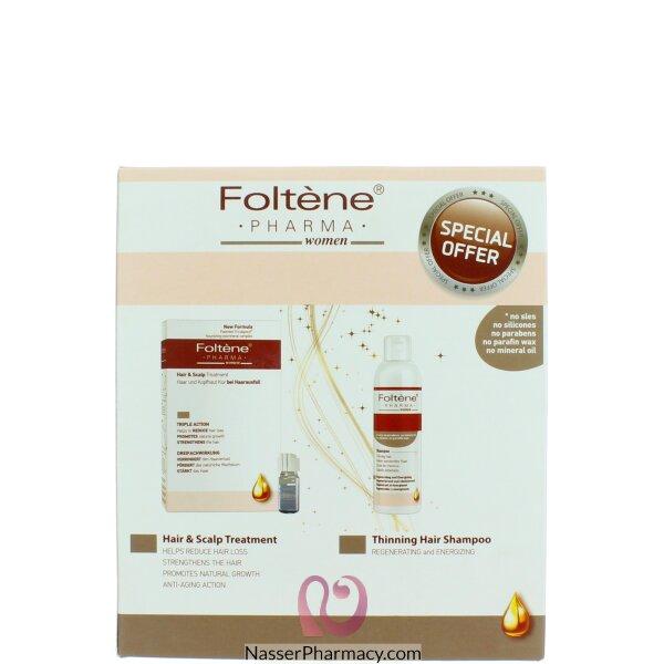فولتن  Foltene علاج تساقط الشعر(امبولات+شامبو) عبوه  للسيدات