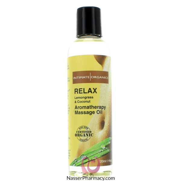 Intimate Organics Relax Aromatherapy Massage Oil Lemongrass And Coconut - 120ml