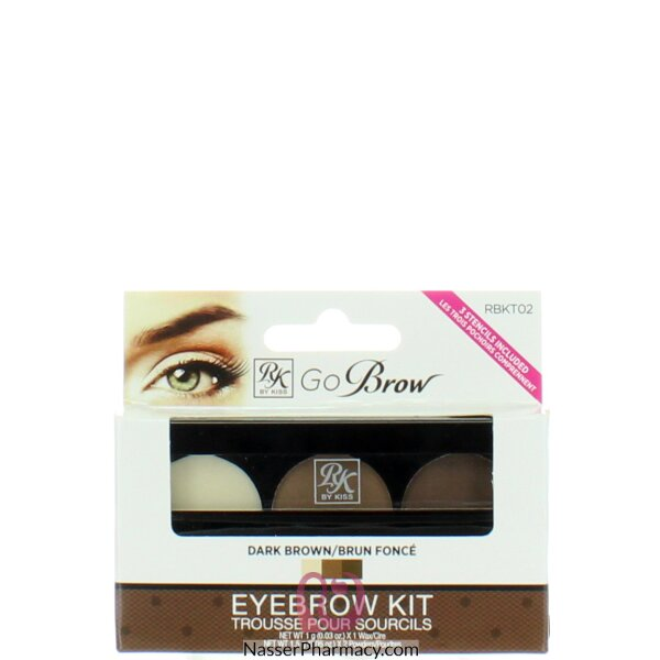 Kiss Rk Go Brow Kit Dark Brown