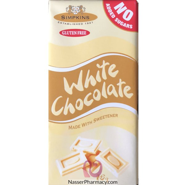 Simpkins No Added Sugar White Choc Bar 75g