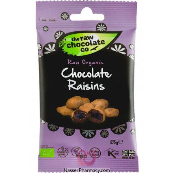 ذا رو شوكولات Raw Chocolate  شوكولاته خام بالكاكاو الطبيعي والزبيب - وجبة خفيفة 28 جرام
