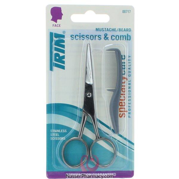 Trim Moustache Scissors & Comb